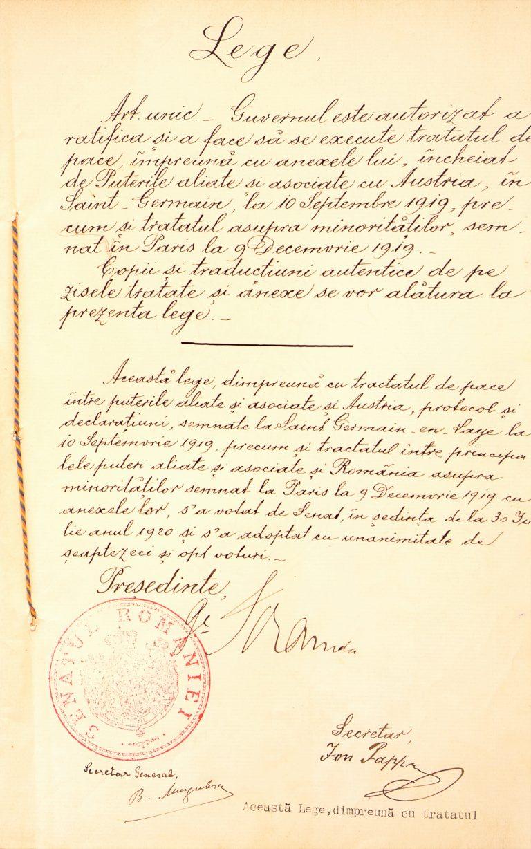 2.Lege prin care guvernul este autorizat a ratifica și a face să se execute tratatul de pace împreună cu anexele lui, încheiat de Puterile Aliate și Asociate cu Austria