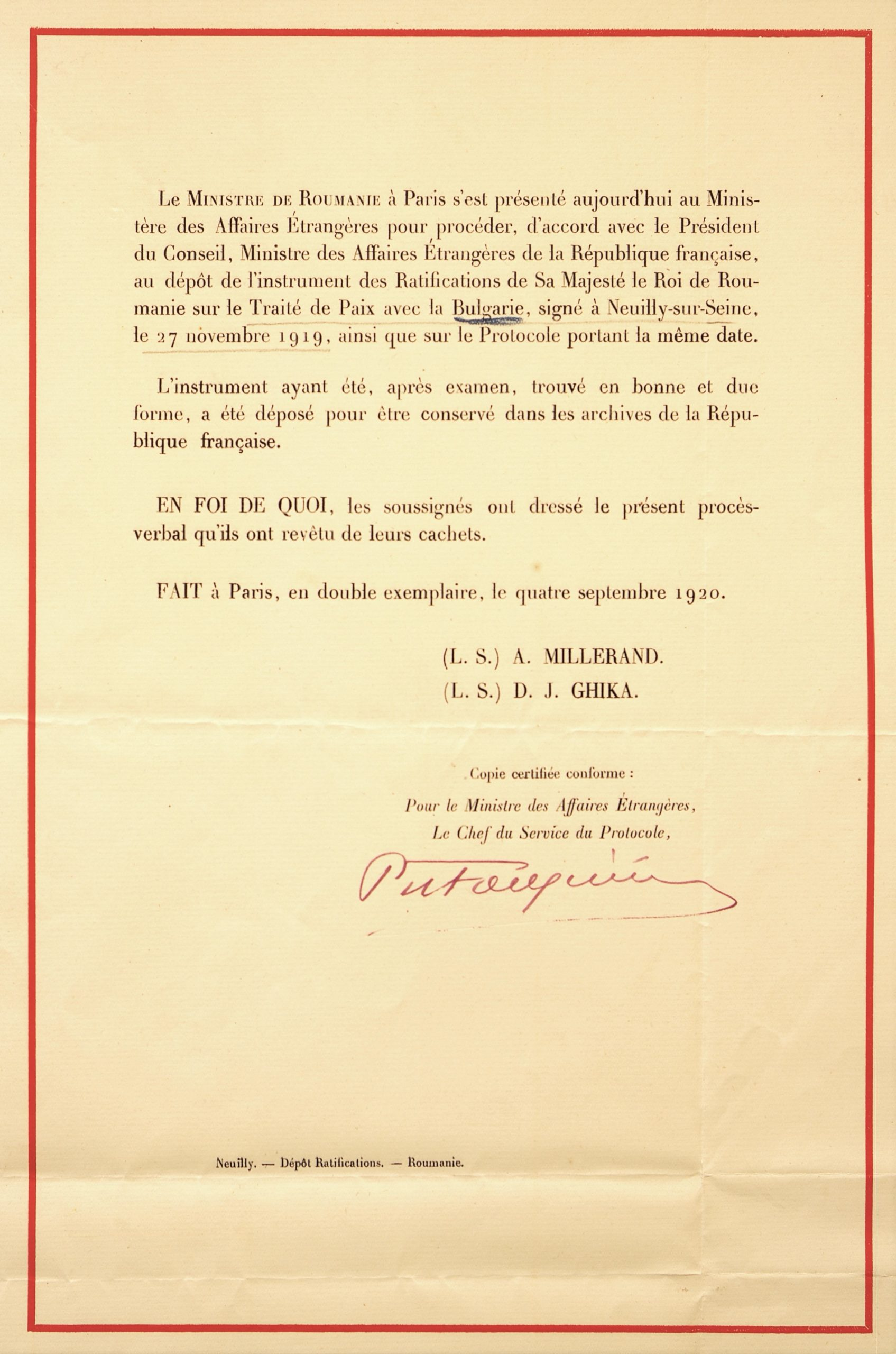 Depunerea instrumetelor de ratificare a Tratatului de Pace cu Bulgaria, Paris, 4 septembrie 1920