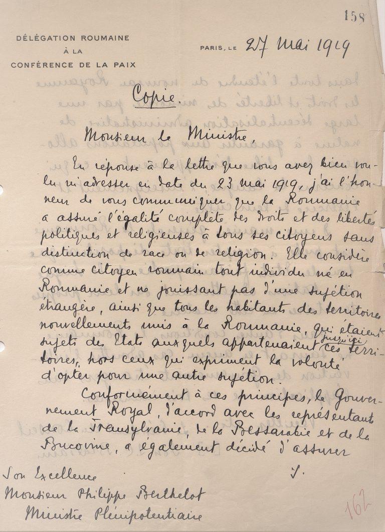 Scrisoare a lui Ion I.C. Brătianu trimisă lui Philippe Berthelot, ministru plenipotențiar al Franței la Conferința de Pace de la Paris, în problema minorităților din regiunile unite cu România, 27 mai 1919