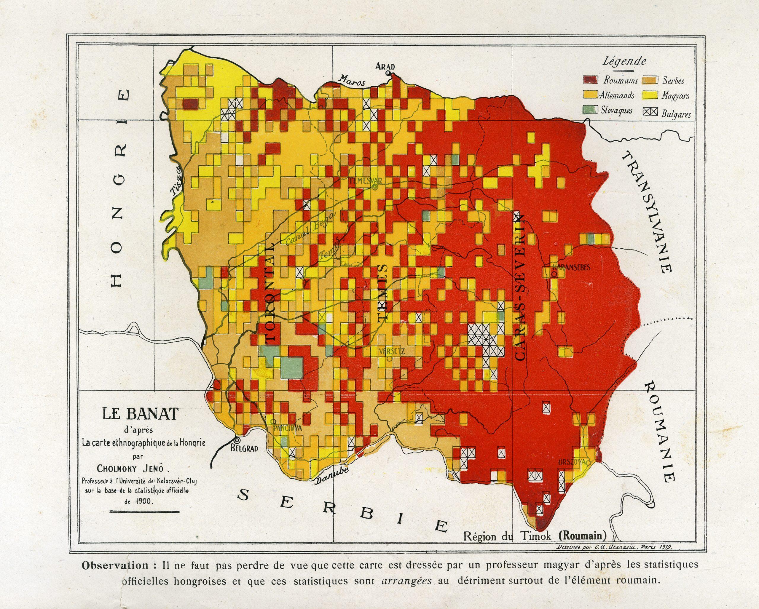 Hartă Le Banat d'apres La carte ethnographique de la Hongrie par Cholnoky Jeno Professeur a l'Universite de Kolozsvar-Cluj sur la base de la statistique officielle de 1900