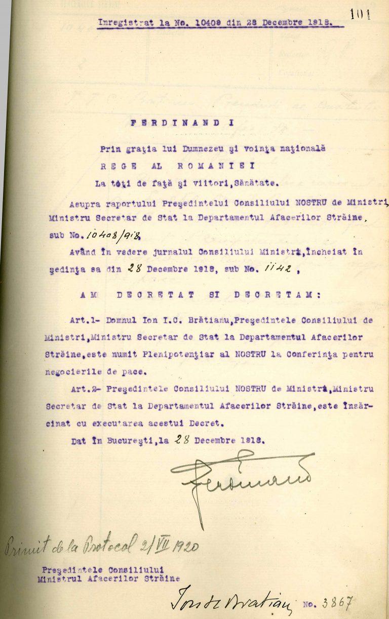 Decretul de numire al lui Ion I.C. Brătianu plenipotențiar la Conferința de Pace, 28 decembrie 1918