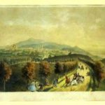 The town of Cernăuţi seen from the plateau of the suburban village of Horecea (lithography by Jan Novopacki). 1857