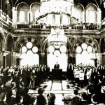 Synodal Hall of the Mitropolitan Palace in Cernăuţi at the time of the General Assembly of Bukovina adopting the declaration of the Union of Bukovina with the Romanian Kingdom, November 28, 1918