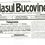 """Glasul Bucovinei"" of November 28, 1918, in which George Clemenceau's telegram to I.I. C. Bratianu congratulating the Romanian state for its accomplishment"