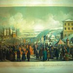 The feast of the Jordan in Cernauti (lithography by a watercolor by Franz Xaver Knapp). 1860