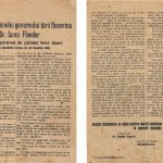 Leaflet with the statement of the President of the Government of the country of Bucovina Mr. Iancu Flondor in the National Council on the division of land among peasants, November 25, 1918, Bucovina Museum, no. inv. 4602