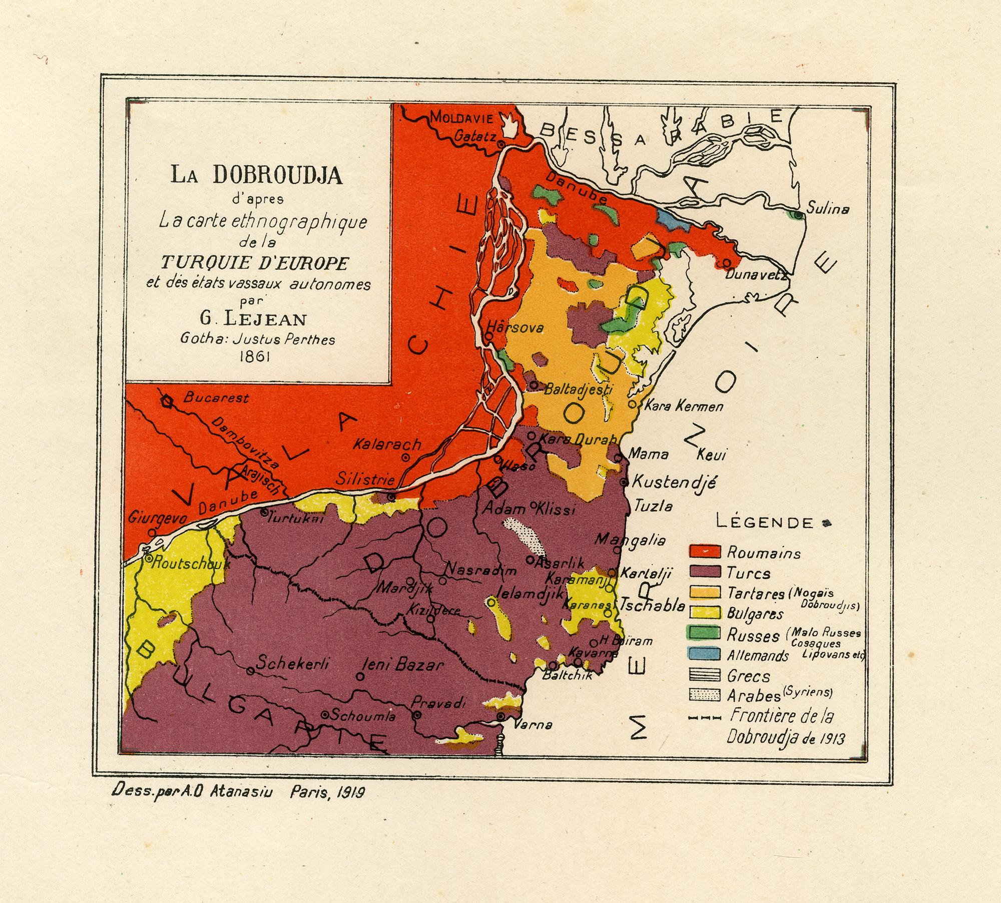Hartă - La Dobroudja d'apres la carte ethnographique de la Turquie d'Europe et des états vassaux autonomes par G. Lejean Gotha Justus Perthes 1861