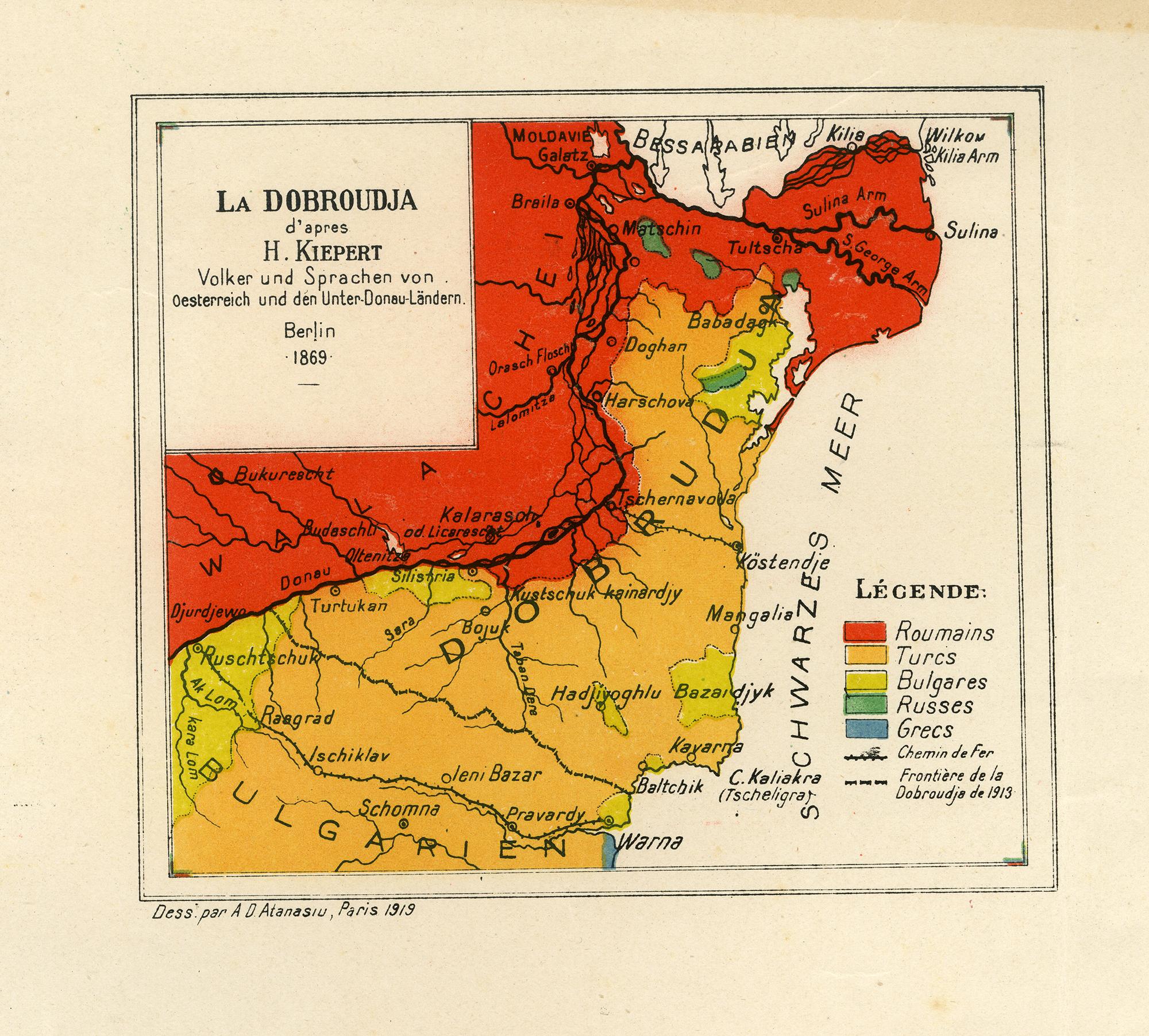 Hartă - La Dobroudja d'apres H. Kiepert, Volker und Sprachen von Oesterreich und der Unter Donau Landern Berlin 1869