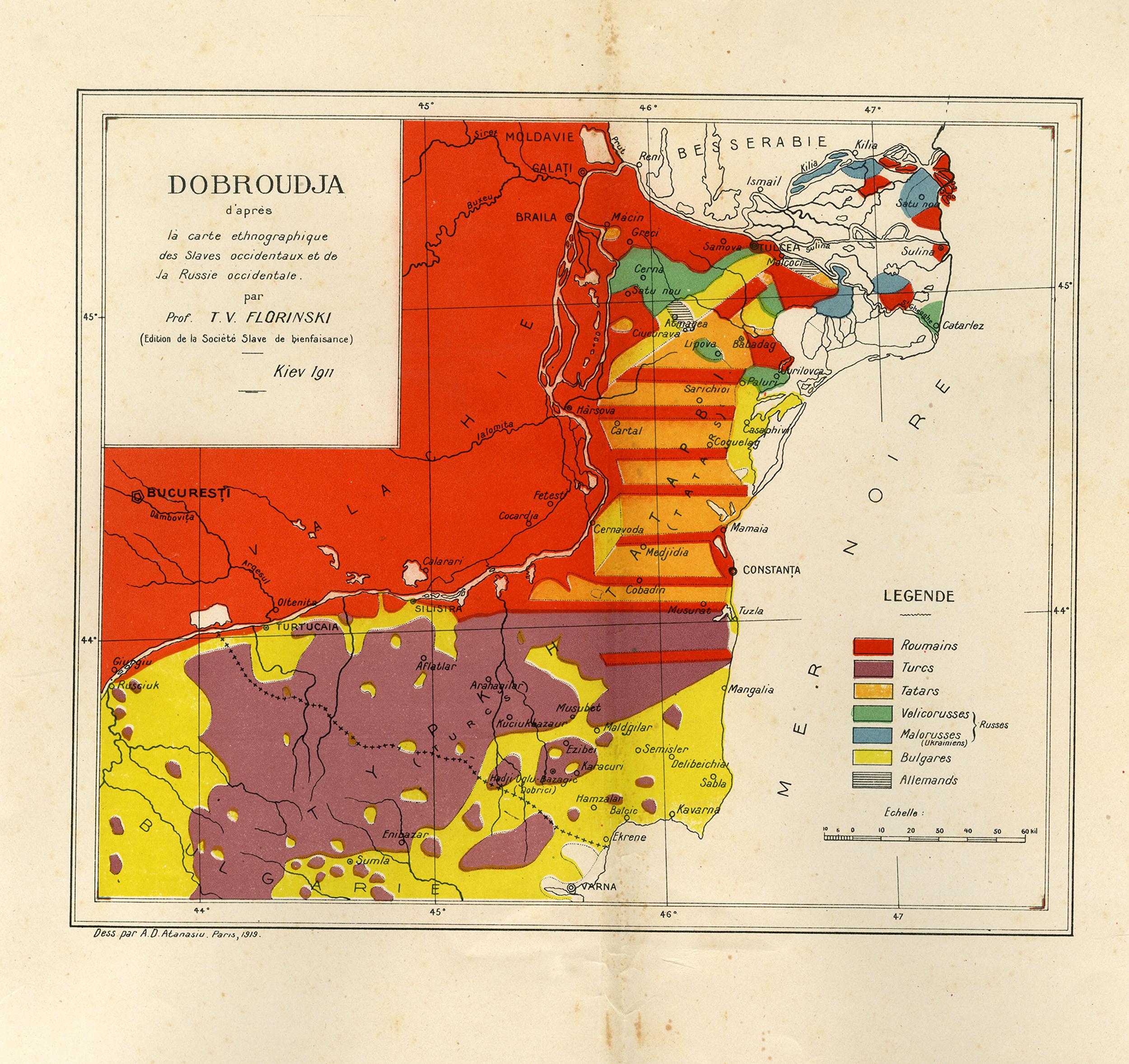 Hartă - Dobroudja d'après la carte ethnographique des Slaves occidentaux det de la Russie occidentale. par Prof. T. V. Florinski (Edition de la Societe Slave de bienfaisance) Kiev 1911