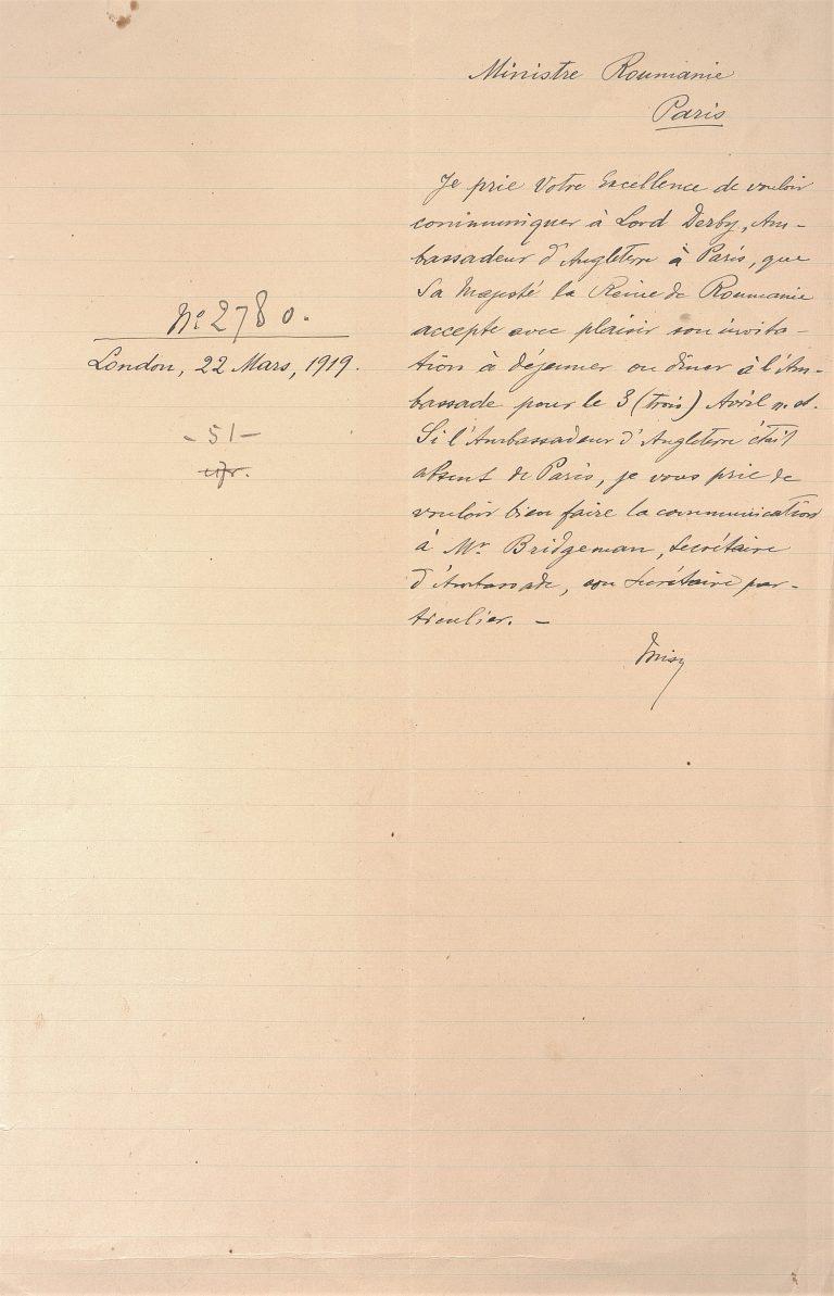 Corespondență privind organizarea vizitelor din 1919 ale Reginei Maria