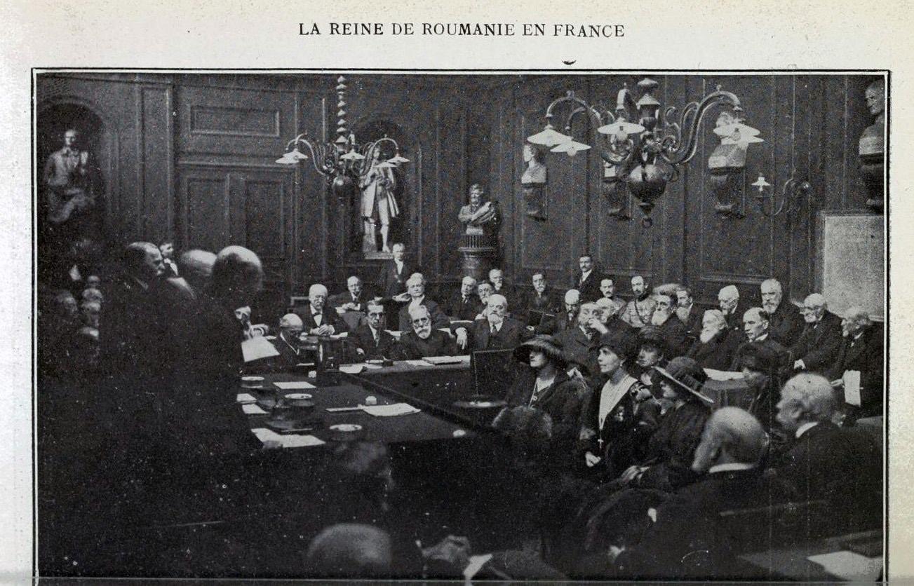 Regina Maria la Academia de Arte Frumoase din Paris, fotografie din presa vremii