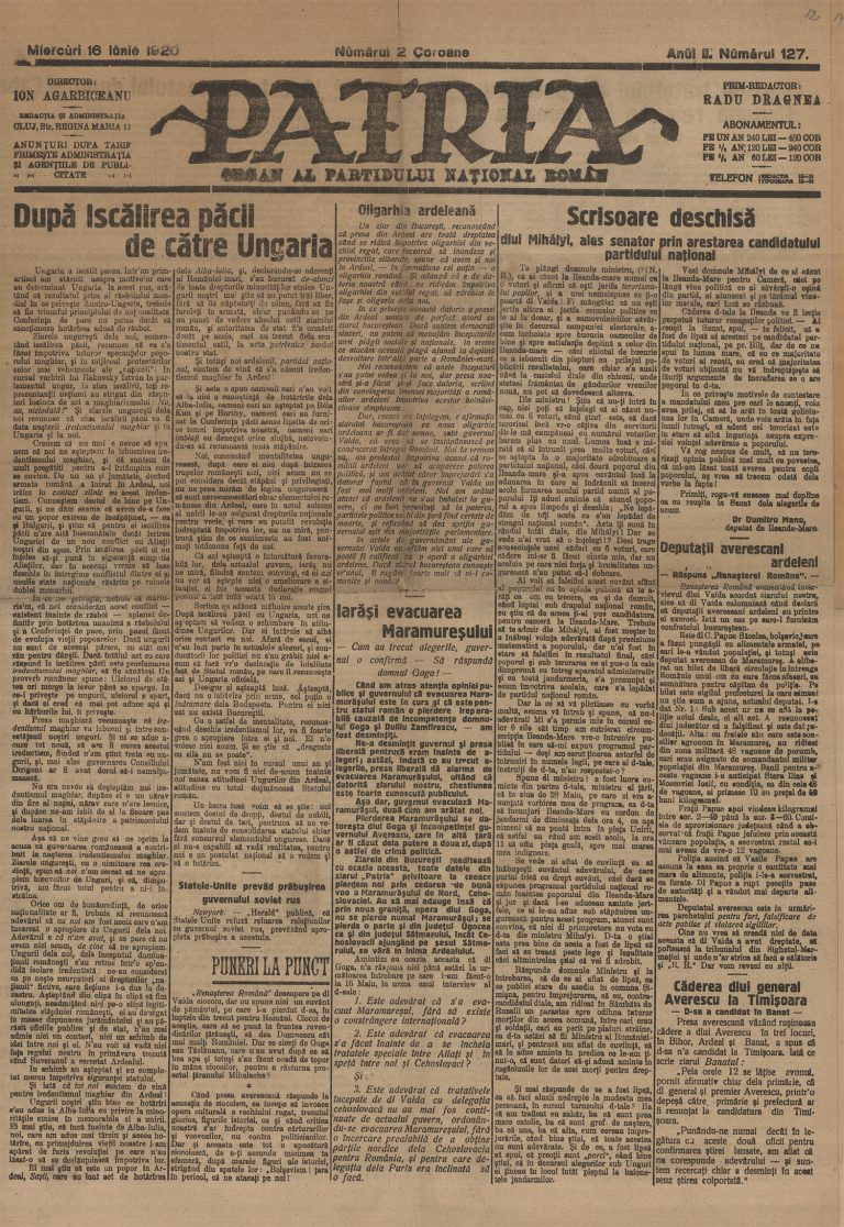 """5.Ziarul """"Dacia"""", articol despre Deschiderea Conferinței de Pace, 9 ianuarie 1919,ANR, Biblioteca"""