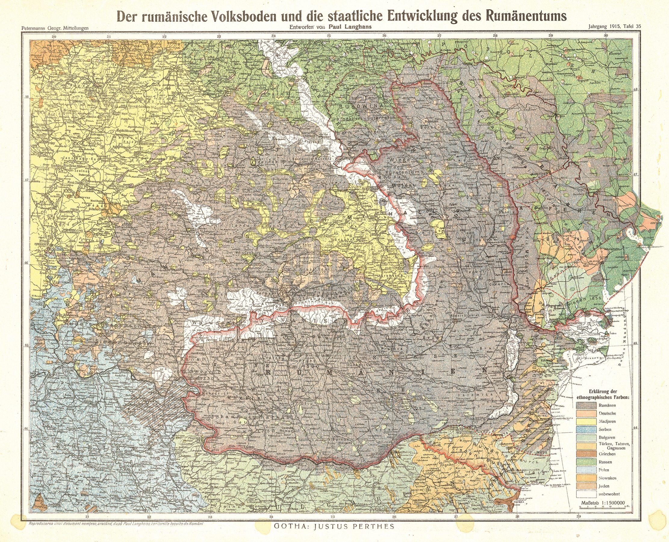 Hartă etnografică a românilor realizată de Paul Langhans în 1915