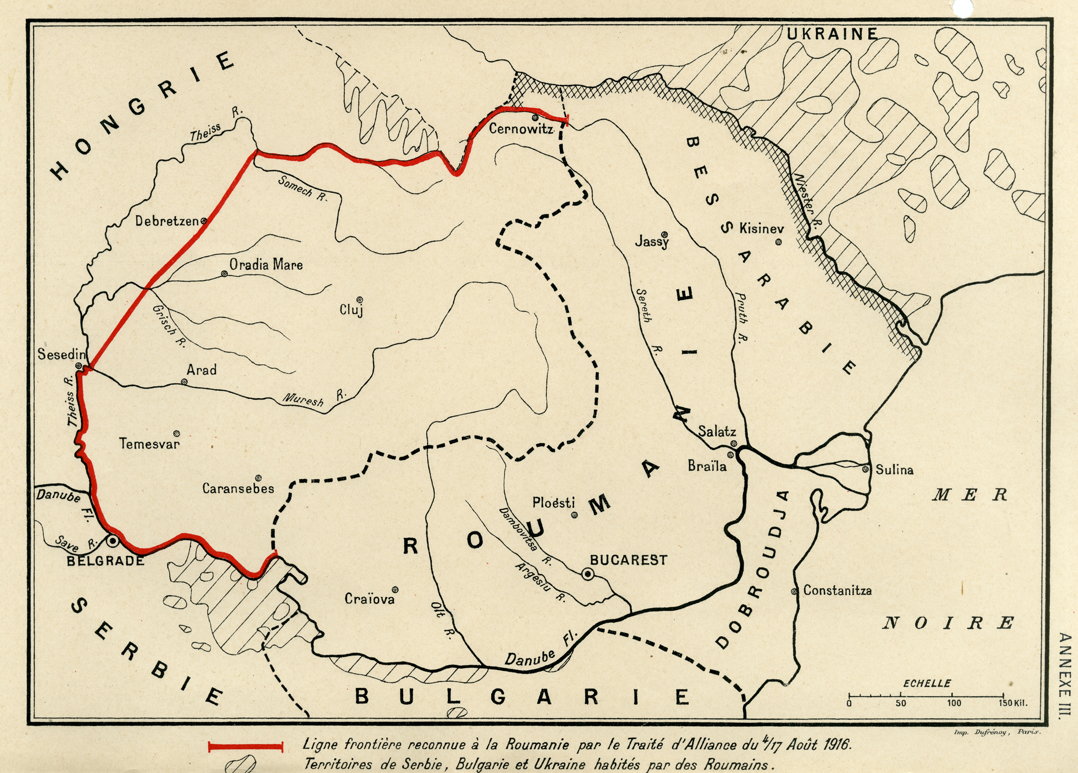 1.Hartă cu frontiera de Vest a Regatului Român stabilită de către România cu statele Antantei prin Convenția militară și cea politică încheiate la 4/17 august 1916, AMAE