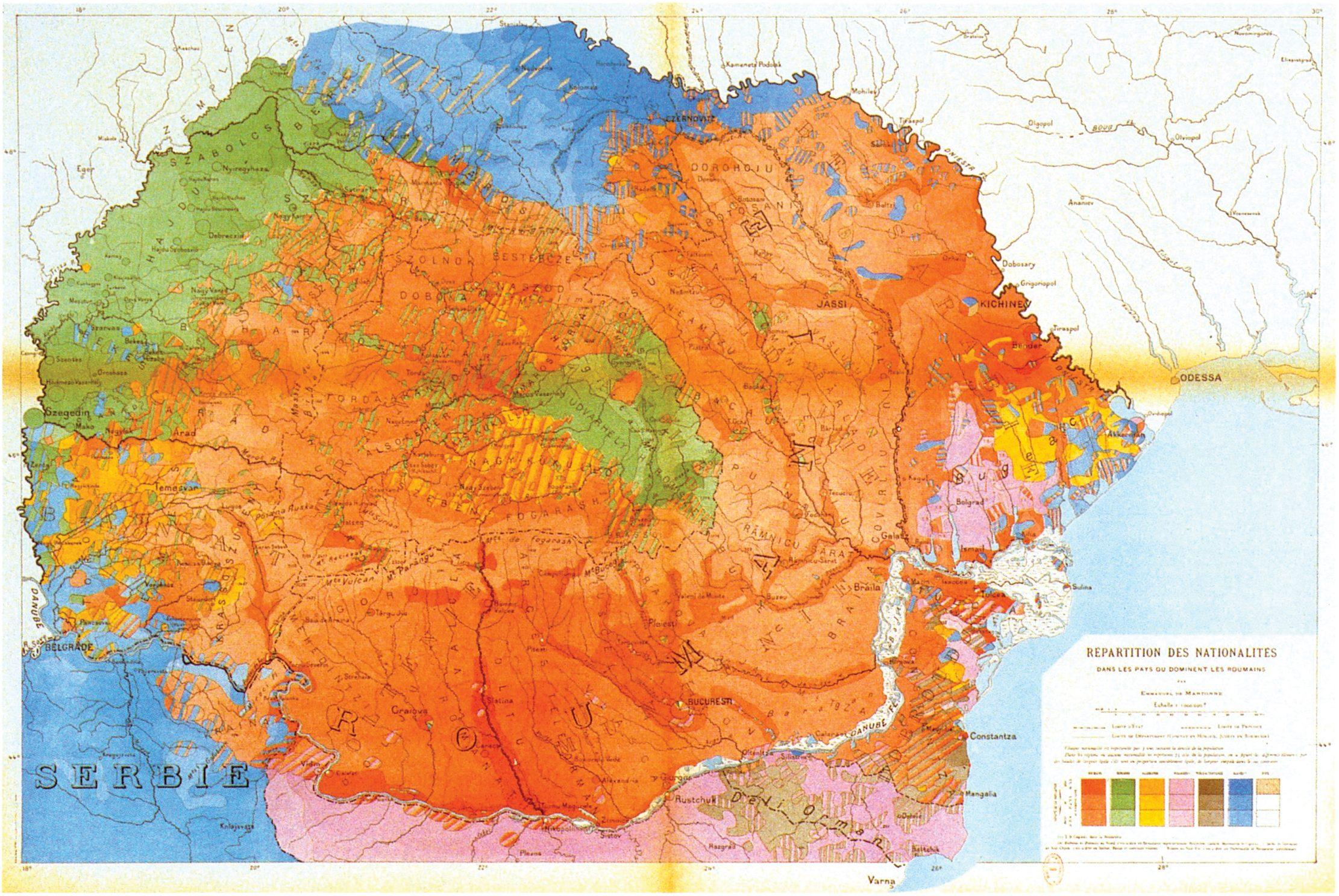 Hartă a României cu repartizarea naționalităților realizată de Emanuel Martonne în anul 1919