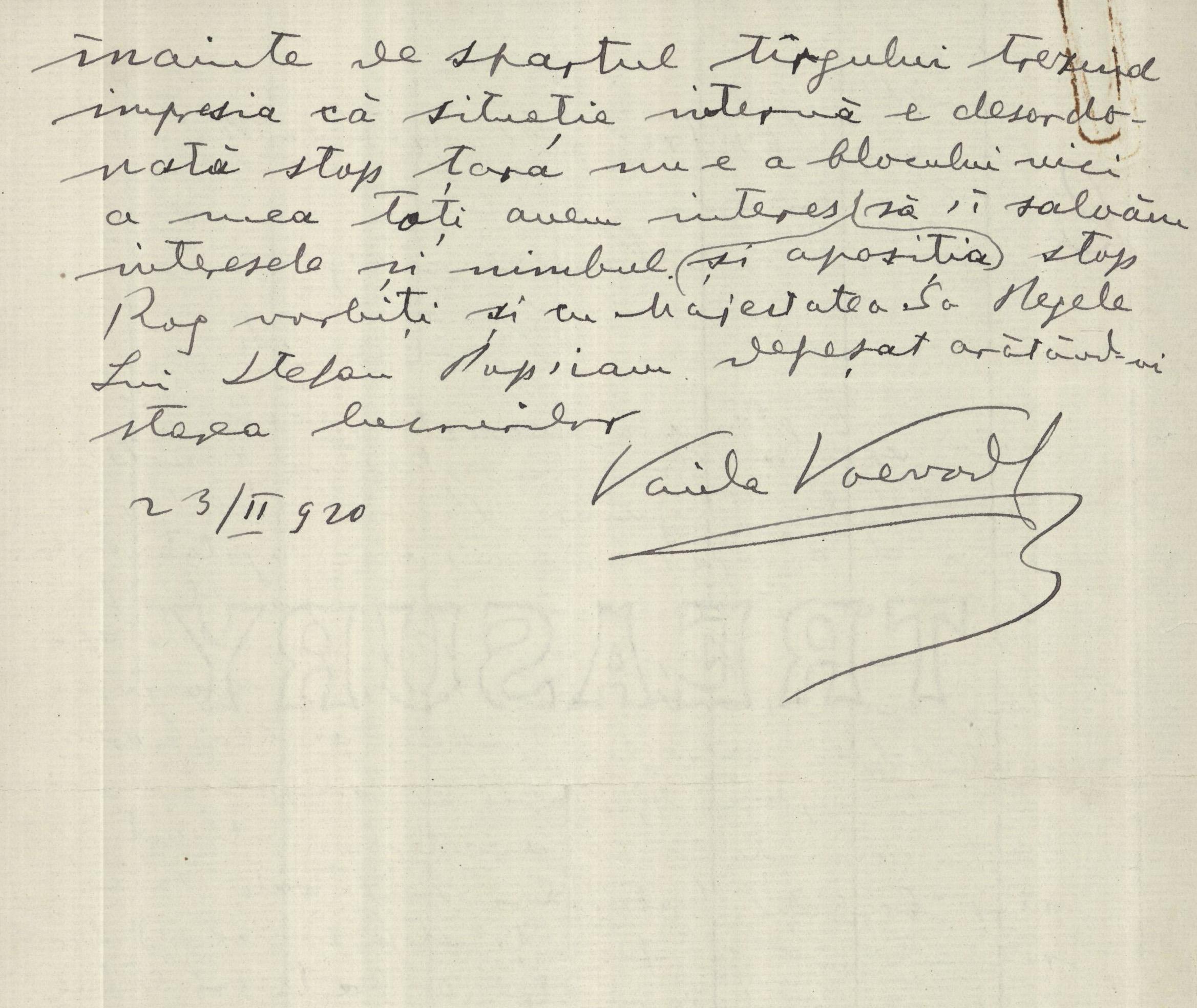 Telegramă a lui  Vaida-Voevod adresată lui Nicolae Iorga, președintele Camerei Deputaților cu privire la discutarea problemei tratatului cu Ungaria și cu Rusia, 23 febr. 1920, ANR SANIC fond pers Al Vaida-Voevod, dosar 134 fila 1f-v.