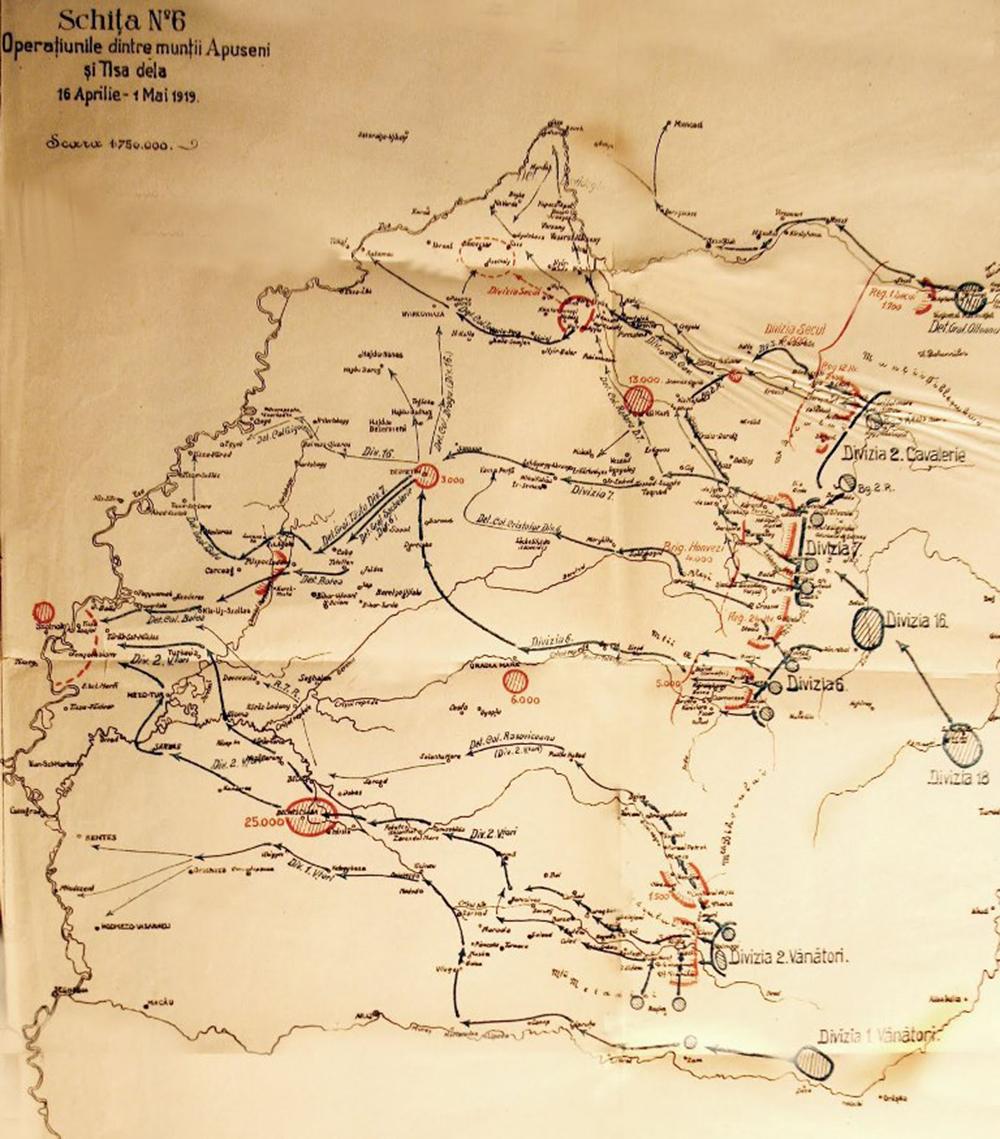 Harta operatiunilor militare dintre muntii Apuseni si Tisa, aprilie - mai 1919