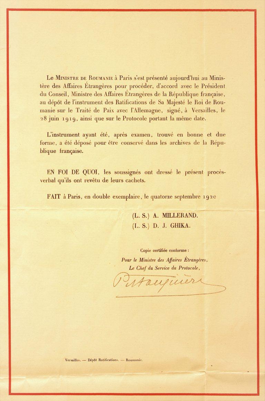Ratificare tratat Versailles de Romania